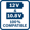 10.8 & 12 Volt 100% compatible All Bosch Professional 10.8 V tools, batteries & chargers are 100% compatible with all Bosch Professional 12 V tools, batteries & chargers
