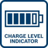 Battery charge level indicator shows the level of remaining battery charge