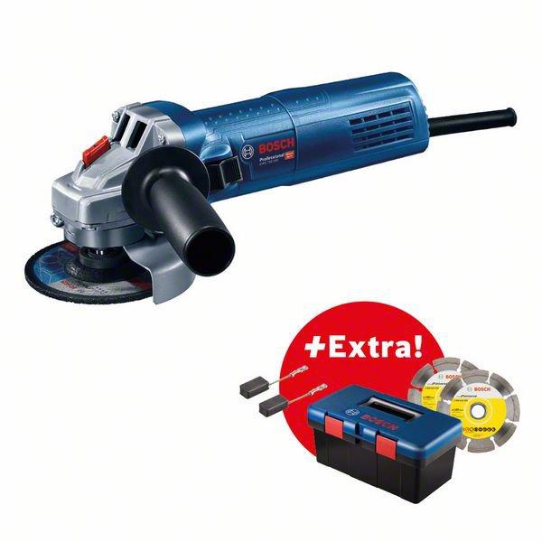 Professional Set: Angle grinder GWS 750-100 + 2 x diamond discs + 1 set carbon brush (2 pcs) in Bosch Tool Box PRO