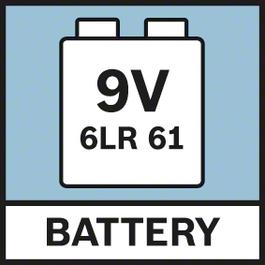 Battery 9.6V Power supply by 1x 9V 6LR61 battery