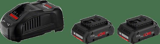 in cardboard box with 2 x 4.0 Ah ProCORE18V Li-ion battery